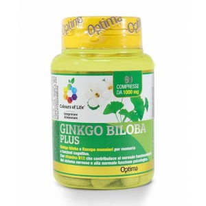 GINKGO BILOBA PLUS 60 Compresse | Integratore Memoria e Mente | OPTIMA NATURALS Colours of Life