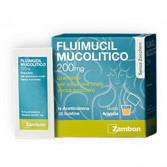 FLUIMUCIL Mucolitico 30 Buste Senza Zucchero| Granulato per soluzione orale 200 mg Arancia