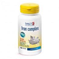 IRON COMPLEX Integratore di ferro, vitamina C, B12, acido folico e rame 100 tav | LONGLIFE