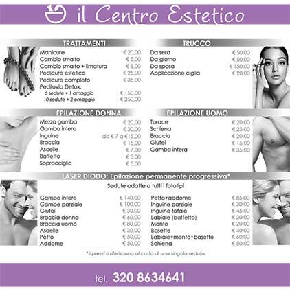 Listino prezzi retro Centro Estetico| Bravi Farmacie