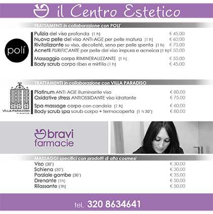 Listino prezzi fronte Centro Estetico| Bravi Farmacie
